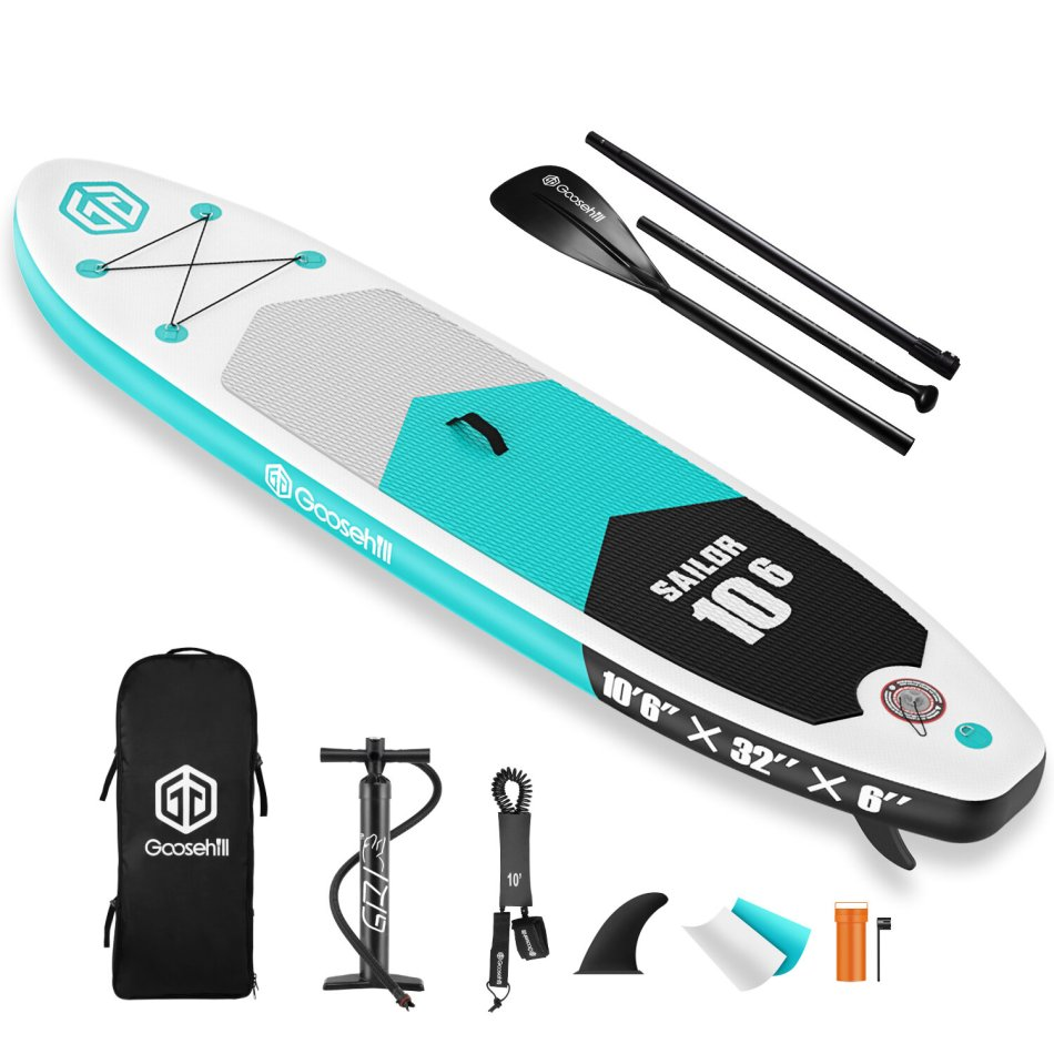 """Goosehill Sailor Inflatable Stand Up Paddle Board 10' Long 32"""" Wide 6"""" Thick Wide Stance Kayak Non-Slip Deck Inflatable Boat Paddling Bottom Fin Surf Control with Premium SUP Package and Carry Bag for Youth Adult"""