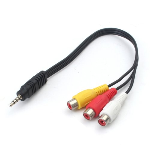 small resolution of 3 5mm mini av male to 3 rca female audio video cable stereo jack adapter cord cod