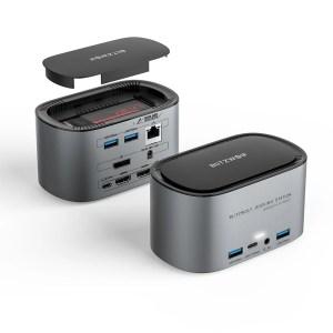 Στα €65.26 από αποθήκη Κίνας | BlitzWolf® BW-TH12 14-in-1 Docking Station with M.2 SATA 3.0 NGFF SSD Enclosure HD 4K/60HZ Triple Display USB 3.0 1000Mb/s RJ45 Ethernet Interface