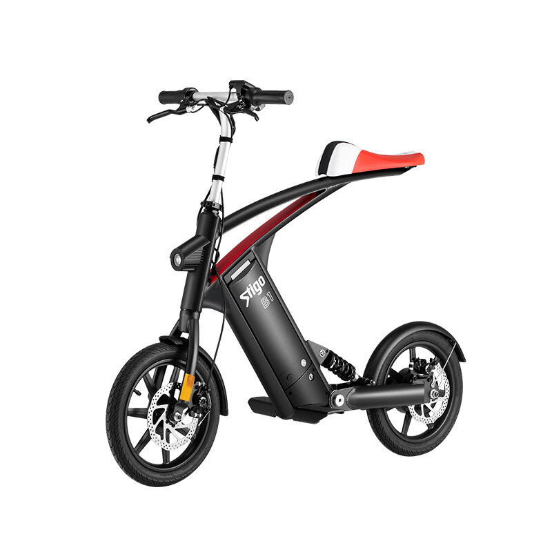 Stigo B1 10Ah 250W 14 Inches Folding Electric Bicycle 25km/h 40-50km Mileage Double Dics Brake LCD Displayer Electric Bike
