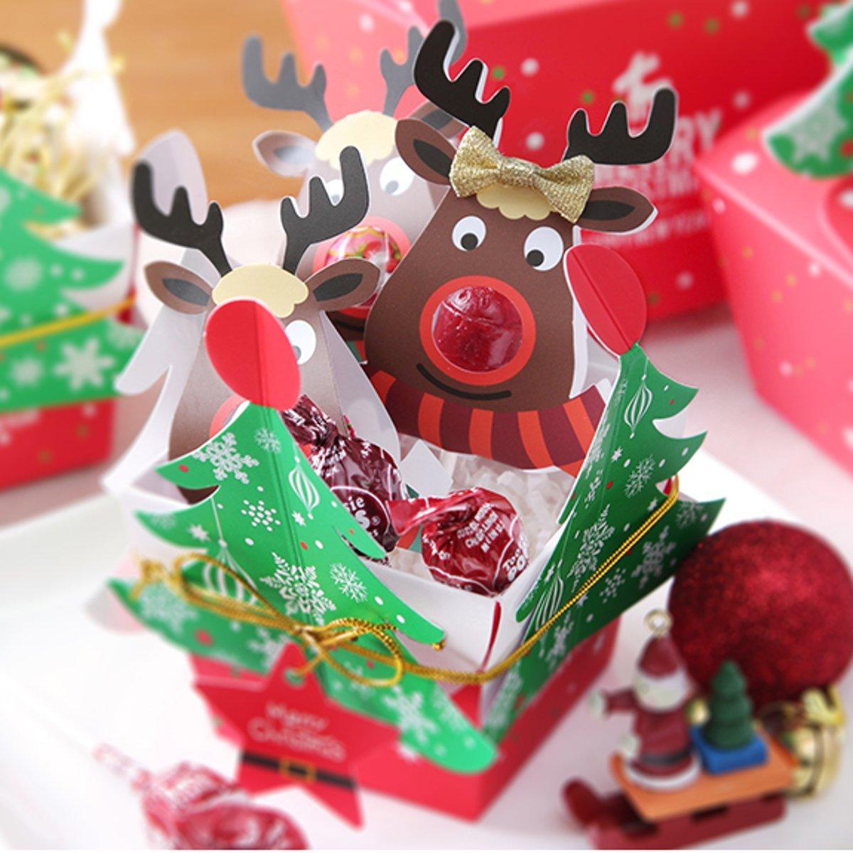 25 Pcs Cute Reindeer Lollipop Paper Card Decorations Christmas Candy Gift Decor