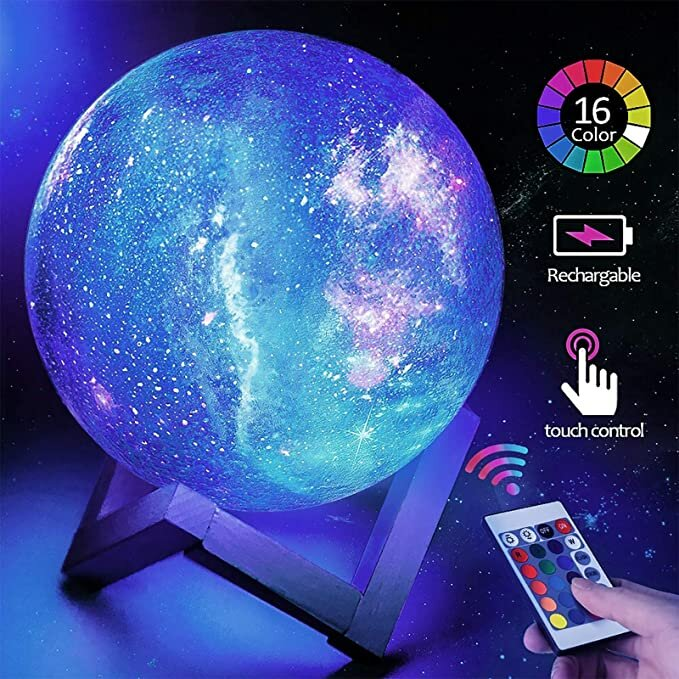 Loskii LED USB Rechargeable Star Moon Lamp Night Light Galaxy Lamp 16 Colors LED 3D Star Lamps with Wood Stand Christmas Light Gift COD