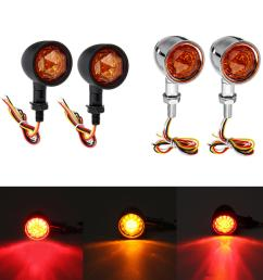 12v universal motorcycle bullet turn signal indicator brake runnning lights 4 wire black cod [ 1200 x 1200 Pixel ]