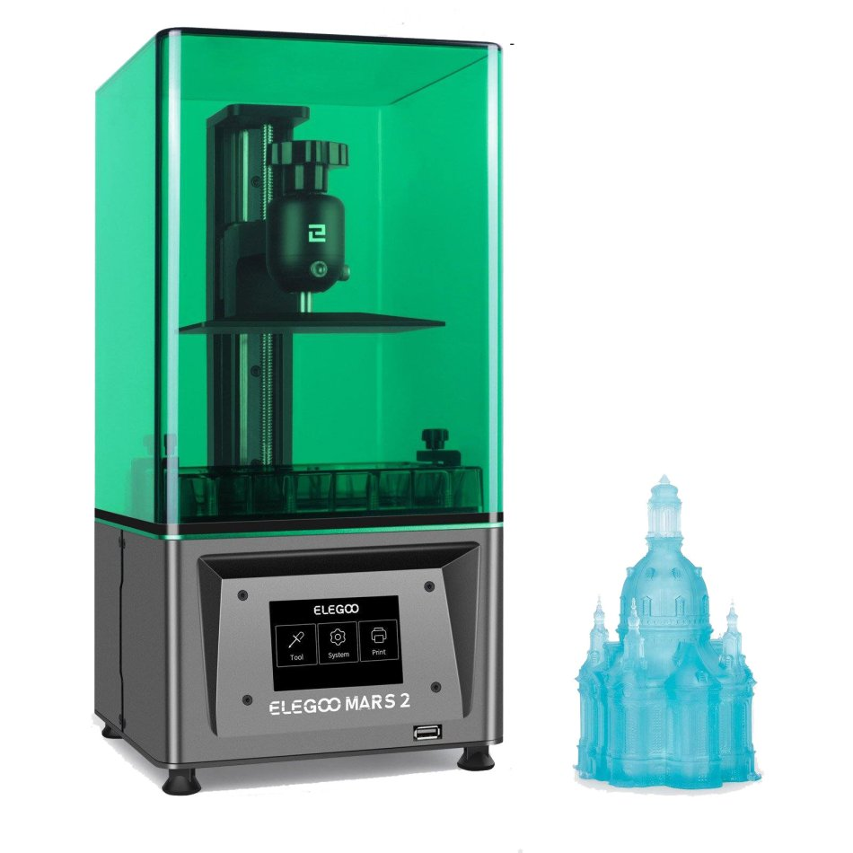 ELEGOO® MARS 2K Monochrome LCD MSLA Resin 3D Printer 6.08 inch LCD Photocuring LCD 3D Printer 4.53inx2.56inx5.9in Printing Size with 3.5'' Smart Touch Color Screen