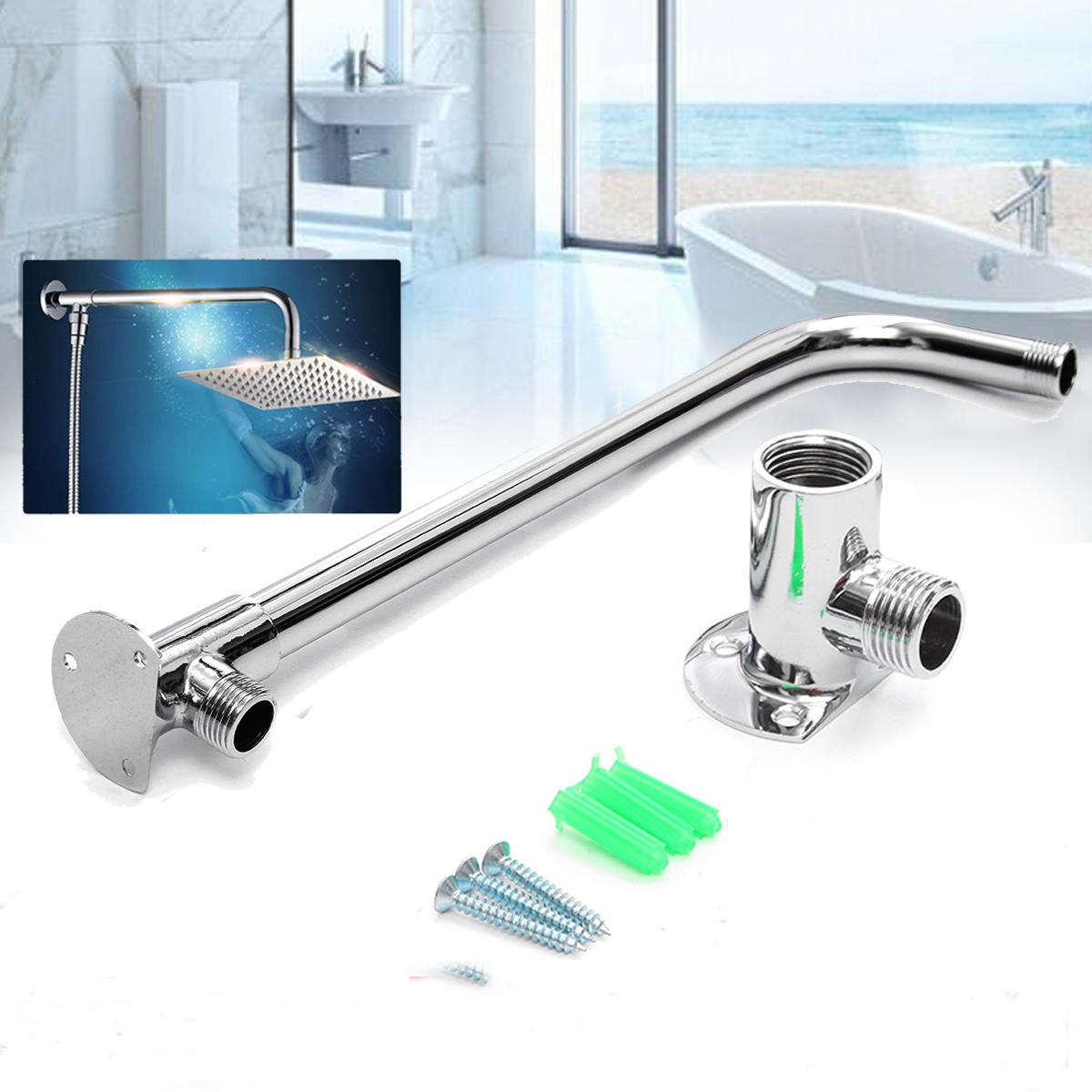 31cm Bathroom Chrome Wall Mounted Shower Extension Arm Pipe Bottom Entry For Rain Shower Head