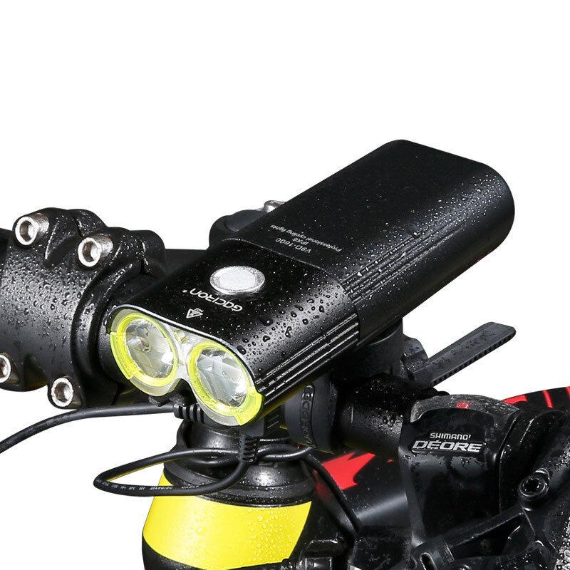 GACIRON V9D 1600LM 5000mAh Bike Headlight Aluminum Alloy IPX6 Waterproof USB Charging 5 Modes Lights Power Bank Electric Scooter MTB Road Bike Lights