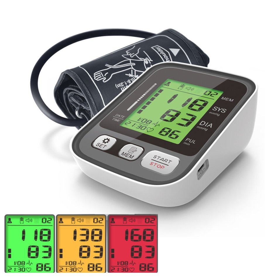 Boxym Upper Arm Blood Pressure Monitor Large Cuff Arm Pulse Sphygmomanometer Automatic BP Heart Rate Pulse Tonometer Tensiometer