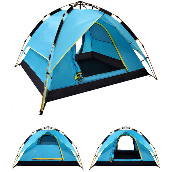IPRee® 200 x 200 x 135cm 3-4 Person Camping Tent Dual Layer Waterproof Windbreak Portable Outdoor Equipment