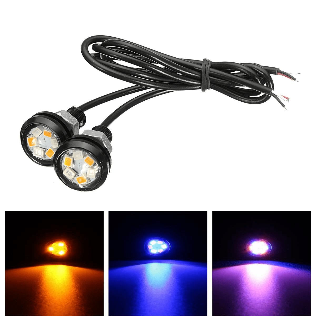 hight resolution of pair car motorcycle led dual color eagle eye led daytime running drl backup light