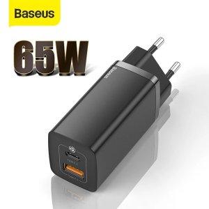 Στα 16.36€ από αποθήκη Κίνας | [GaN Tech] Baseus 65W GaN Dual Port Wall Charger PD+QC3.0 Fast Charging Travel Charger EU Plug Adapter