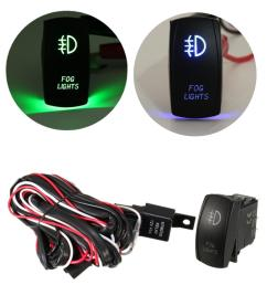 12v 40a led fog light wiring harness laser rocker switch relay fuse kit green cod [ 1200 x 1200 Pixel ]