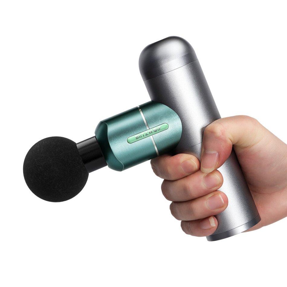 BlitzWolf BW-FAS1 Electric Percussion Massage Guns 2000mAh 4 Speeds Deep Tissue Muscle Vibration Therapy Massager W/ 4 Massage Heads