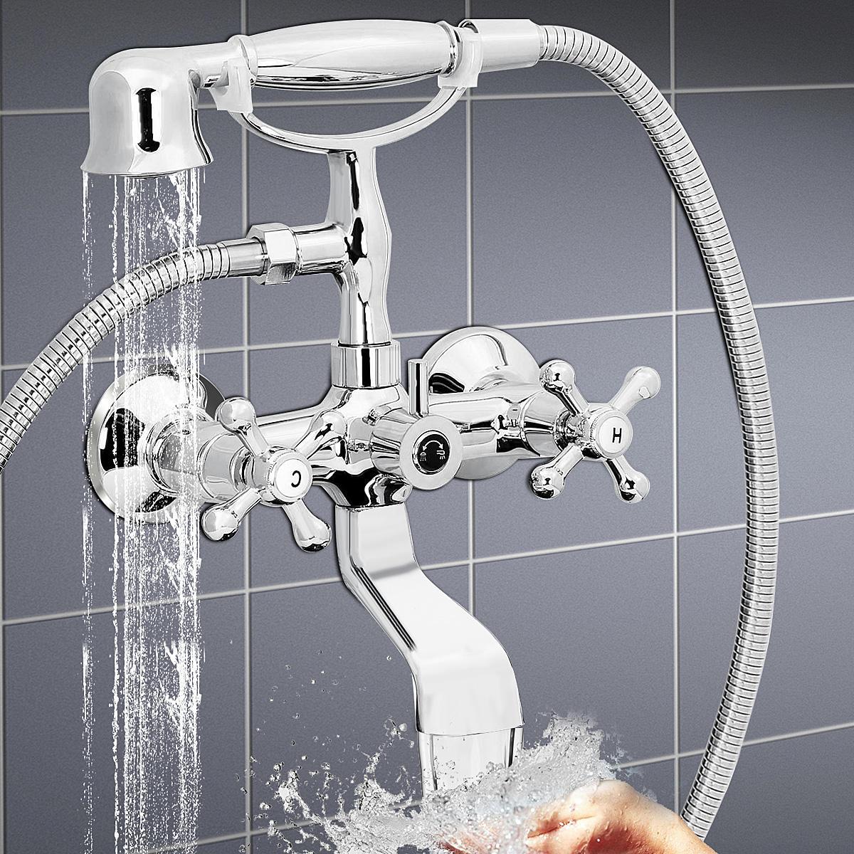 Polished Chrome Clawfoot Bathtub Tub Faucet With Hand Shower Head Spray Wall Mount Sets