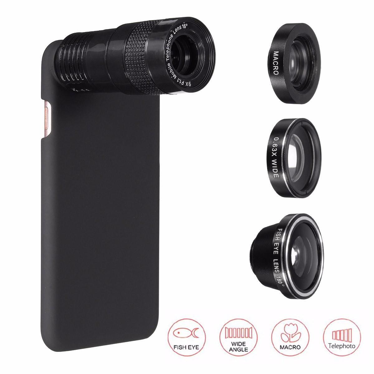 apple iphone 7 plus 용 5-in-1 9x 망원 0.63x 와이드 앵글 매크로 어안 렌즈 + 케이스 세일- Banggood.com sold out-arrival notice