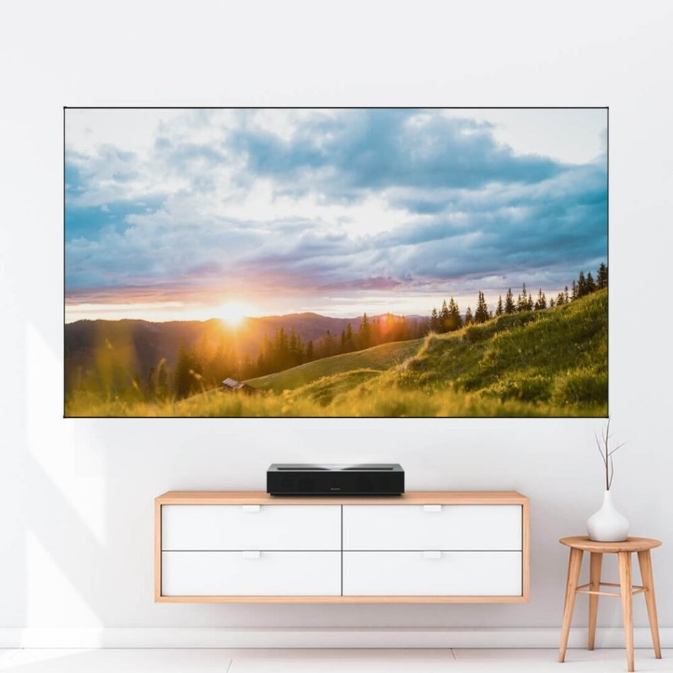 FENGMI 100 Inch Projector Screen 16:9 Black Screen Anti-light Soft Screen 4K HD Home Theater Projector Screen Support Ultra Short Throw Laser Projection Equipment 2213*1244mm
