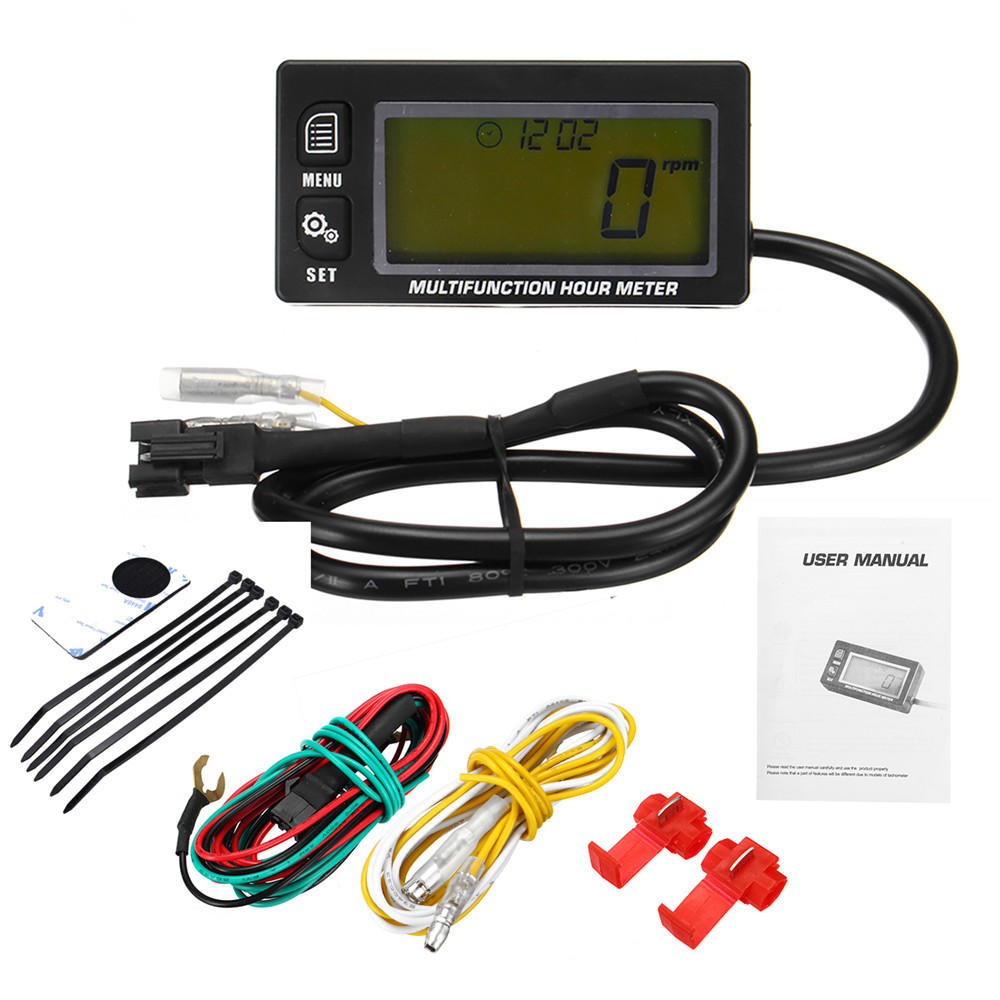 hight resolution of waterproof rpm motorcycle marine boat atv lcd digital tachometer voltmeter hour meter cod