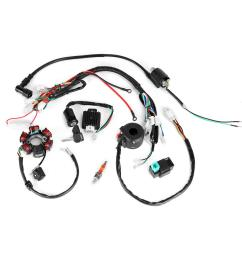 50cc 125cc mini atv complete wiring harness cdi stator 6 coil pole ignition electric cod [ 1000 x 1000 Pixel ]