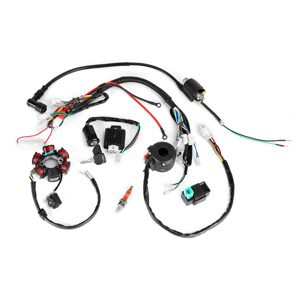 hight resolution of 50cc 125cc mini atv complete wiring harness cdi stator 6 coil pole ignition electric cod