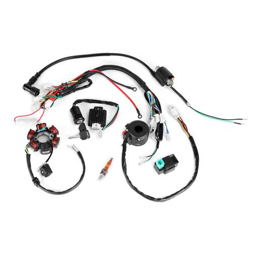 small resolution of 50cc 125cc mini atv complete wiring harness cdi stator 6 coil pole ignition electric cod