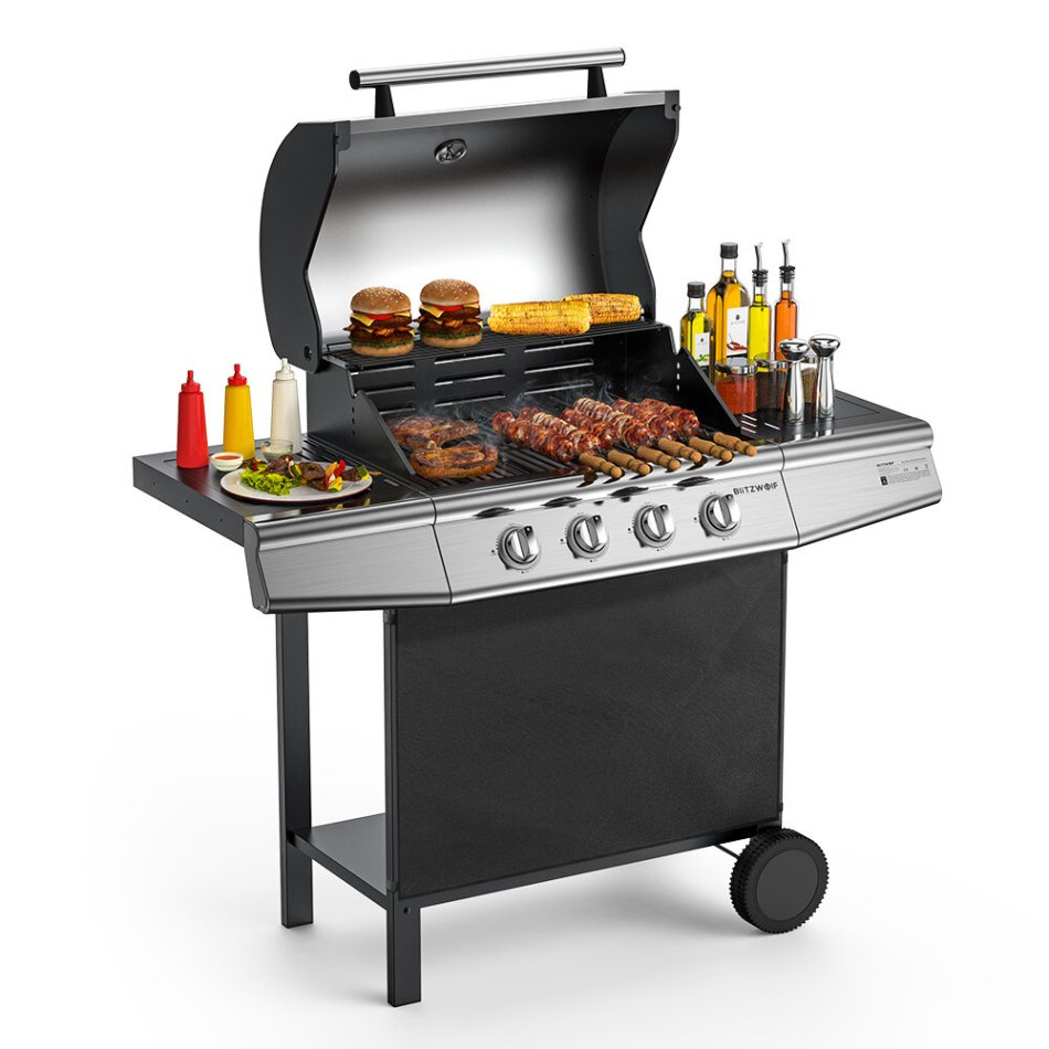 Blitzwolf BW-GO1 Gas Barbecue Grill Trolley with 4 Stainless Steel Burners and Stand Grill with Lid and Thermometer