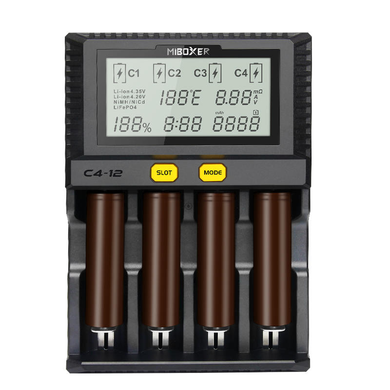 Miboxer New C4-12 LCD Adjustable Intelligent Battery Charger 4 Slots Multiple Battery For 18650 26650 AAA Li-ion Ni-MH Ni-Cd Battery