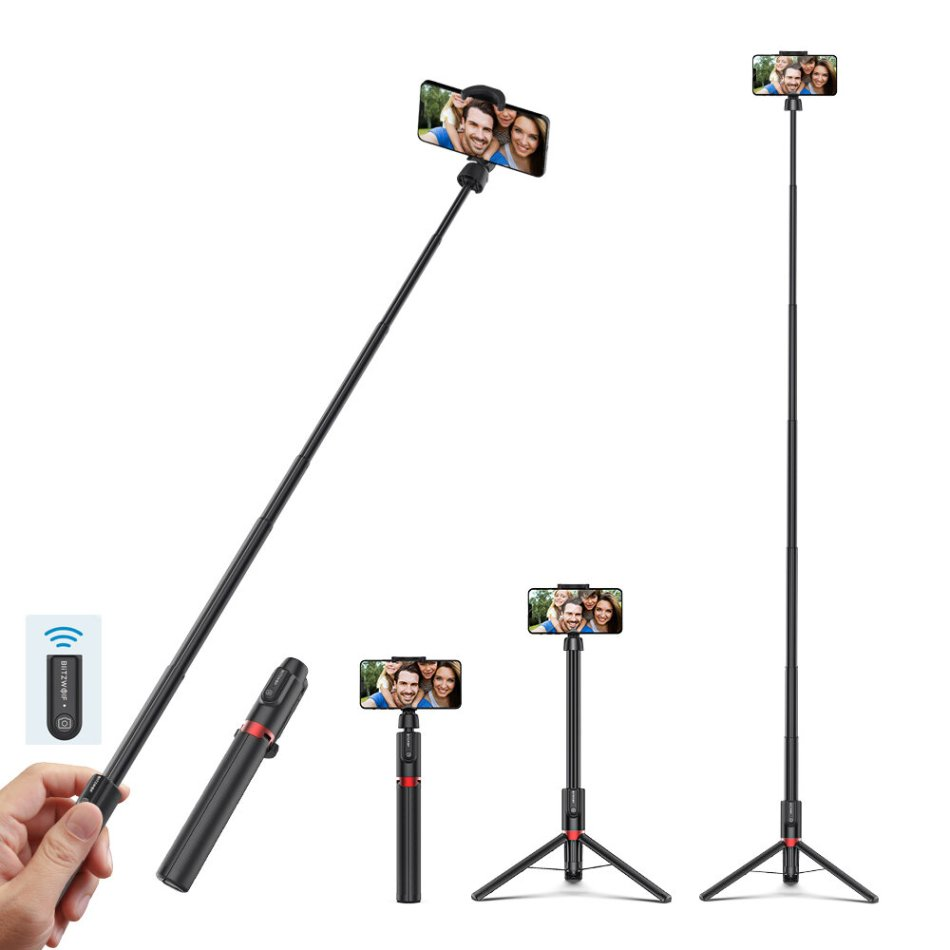 Blitzwolf BW-BS10 Plus Multifunctional 1300mm Super-long Length Selfie Stick Triop with 360° Phone Clamp and Retractable Remote