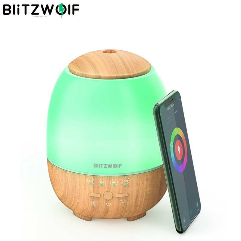 BlitzWolf BW-FUN3 Wi-Fi Essential Oil Diffuser Ultrasonic Aromatherapy Humidifier APP Control Amazon Alexa Google Home Control with 7 Colorful Light