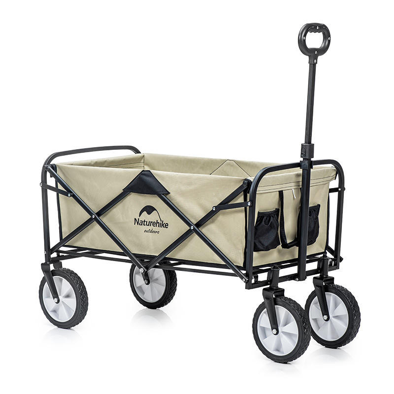 Naturehike Portable Folding Luggage Trolley Cart Adjustable Pull Rod Shopping Push Cart Max Load 80kg Outdoor Camping