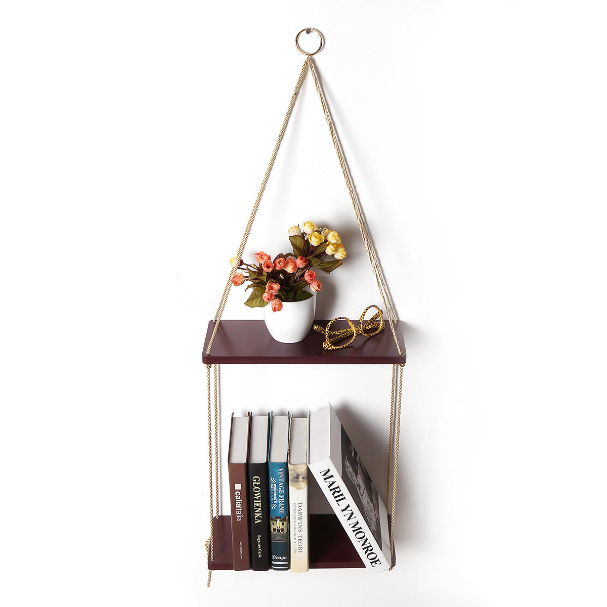35cm 45cm 2 Layers Solid Wood Rope Hanging Wall Shelf Vintage Floating Storage Rack Wall Mount Bookshelf Home Decorations