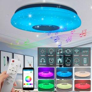 Δίνεις 24€ και κάνεις ένα συχρονο δωμάτιο με λίγα έξοδα | Modern LED Ceiling Light bluetooth Music Speaker RGB APP Remote Control Lamp – warm white+white 220V