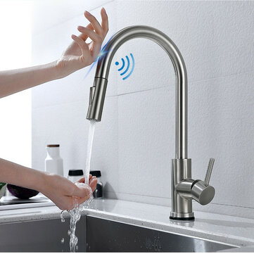 brushed nickel stainless steel kitchen sink faucets mixer 360 rotation smart touch sensor pull out hot cold water mixer tap crane
