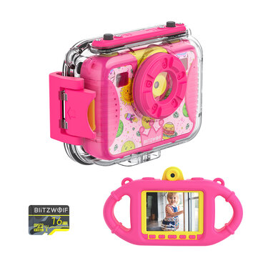 BlitzWolf® BW-KC2 Kids Camera Waterproof 8MP Photo 1080p Sports and Diving Camera Continuous Shooting Videos Digital Camera for Girls and Boys Birthday Christmas Gifts with 16GB TF Card