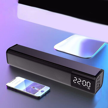 LyRay 20W Soundbar Wireless Portable Bluetooth Speaker HI-FI Sound Quality Double Alarm Clock Independent Dual Sound Unit