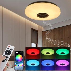 Στα 19€ από αποθήκη Τσεχίας και με βίντεο στην περιγραφή και γνώμη μου… Πέτα   RGBW LED Ceiling Light Music Speaker Lamp Bluetooth APP + Remote Control Bedroom Smart Ceiling Lamp