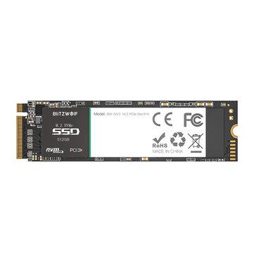 BlitzWolf®BW-NV3 PCIe Gen3*4 NVMe1.3 SSD 512GB M.2-2280 M-Key Internal Solid State Drive 512G Hard Drive Hard Disk for Laptop