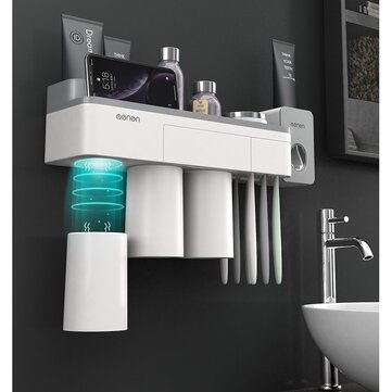 [Magnetic Design] Jordan&Judy Mutifunctional Magnetic Toothbrush Holder with Toothpaste Squeezer