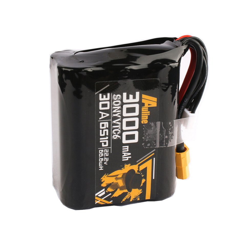 Auline VTC6 22.2V 3000mAh 6S 30A XT60 Plug Long Rang LR Li-ion Battery for 5inch 7inch RC Drone