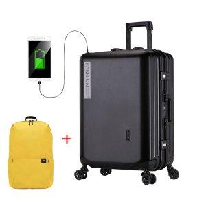 Στα €50.51 από αποθήκη Τσεχίας | 20inch Travel Trolley Suitcase with USB Port Rolling Upright Universal Wheels Expandable Luggage Case Boarding Bags Trunk Fashion Retro Suitcase for Travel Carry On