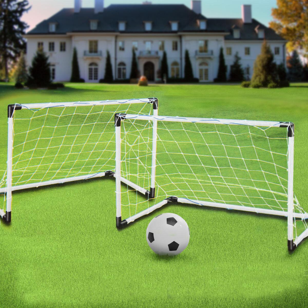 2 Mini Set Football Soccer Goal Post Net Ball Pump