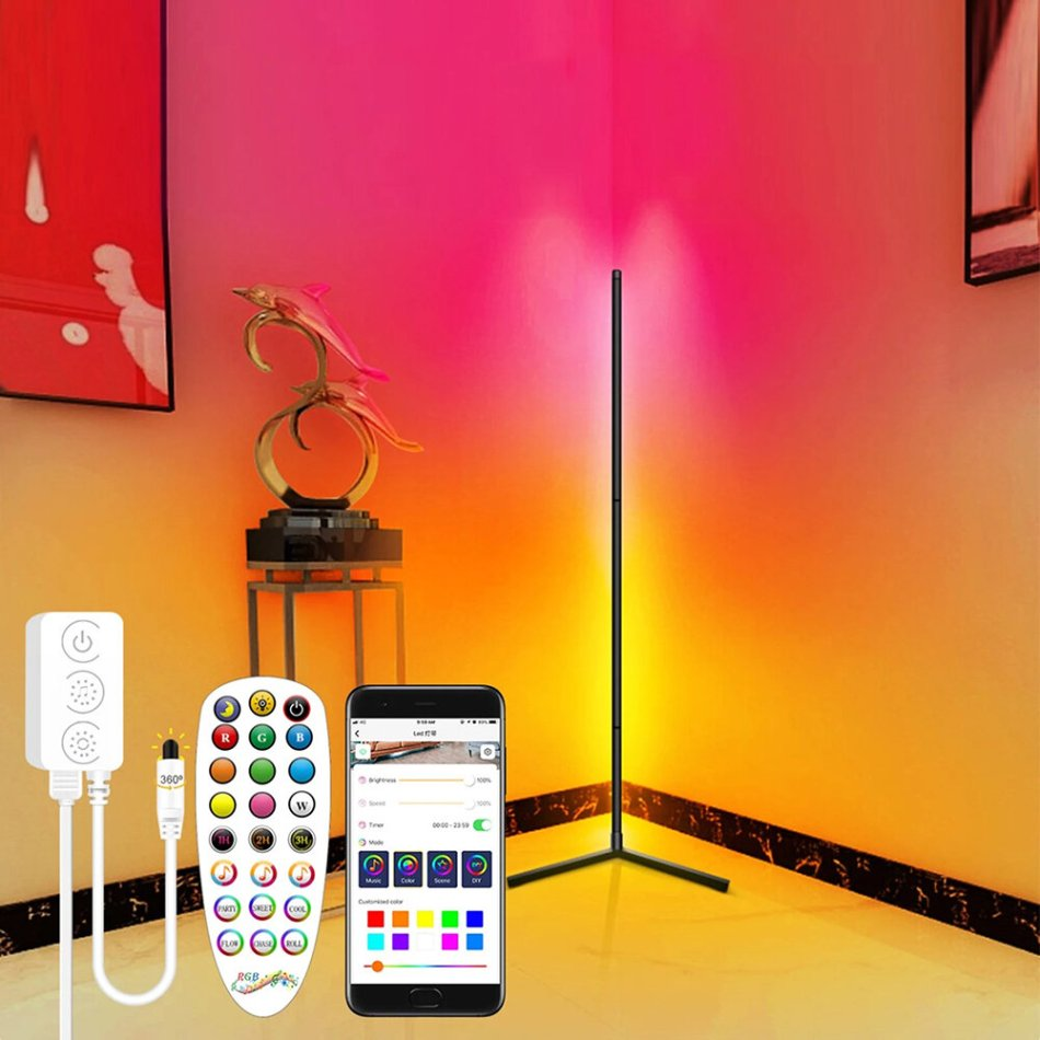 Multicolor Smart Floor Lamp Atmosphere Lamp APP Control DIY Mode with Music Sync Timer Fuction Living Room Bedroom Atmosphere Light RGB Corner Floor Light Dream Color Light Strip for Room Decoration