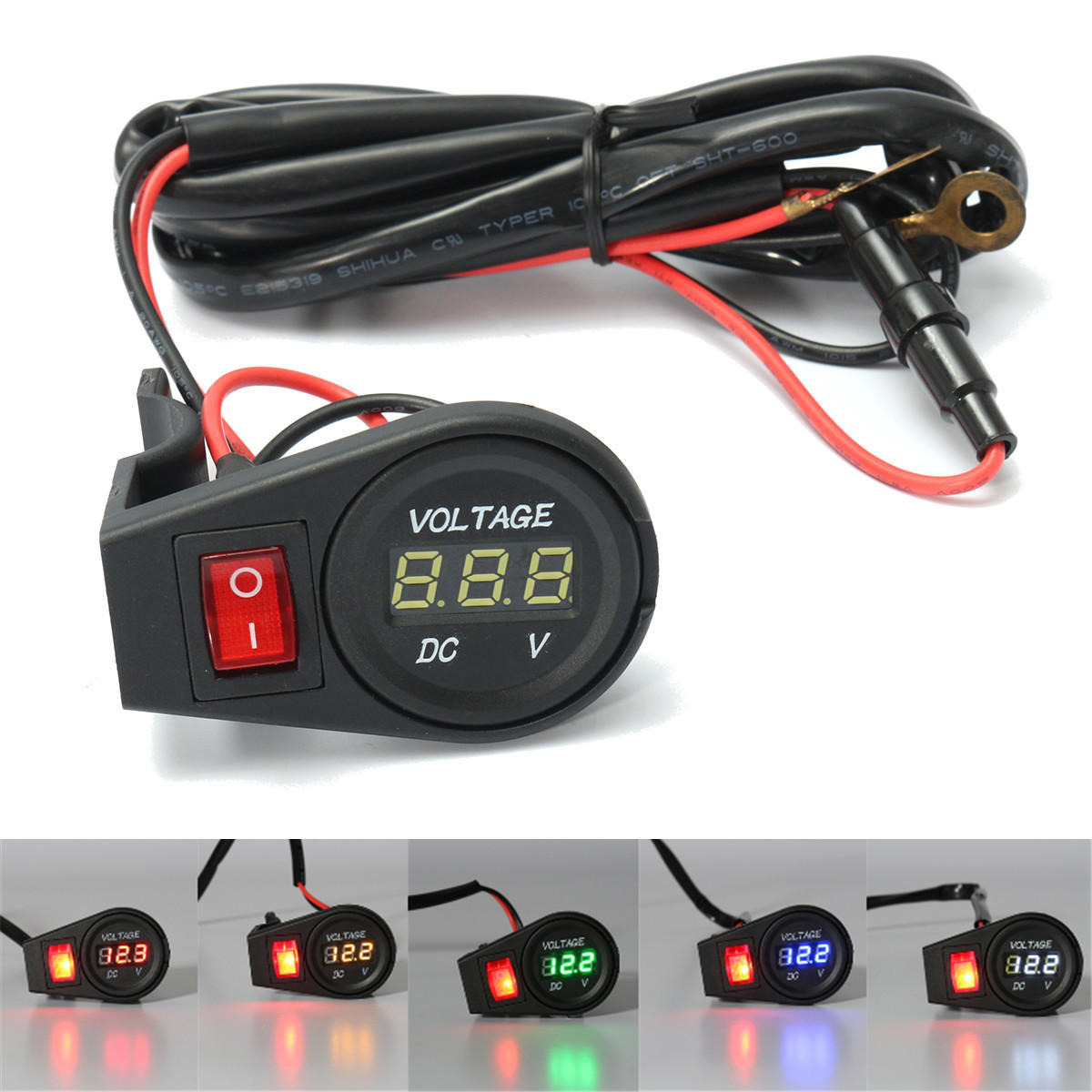 hight resolution of 12v 24v led digital display voltmeter voltage gauge motorcycle bike on off switch orange cod