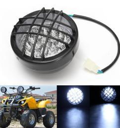 12v front led headlight lamp for atv quad 4 wheeler go kart roketa sunl taotao cod [ 1200 x 1200 Pixel ]