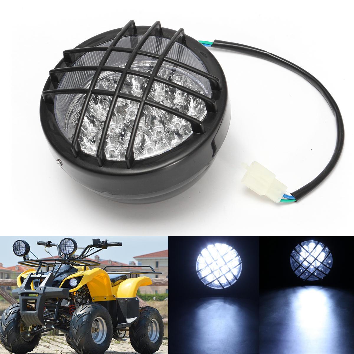 hight resolution of 12v front led headlight lamp for atv quad 4 wheeler go kart roketa sunl taotao cod