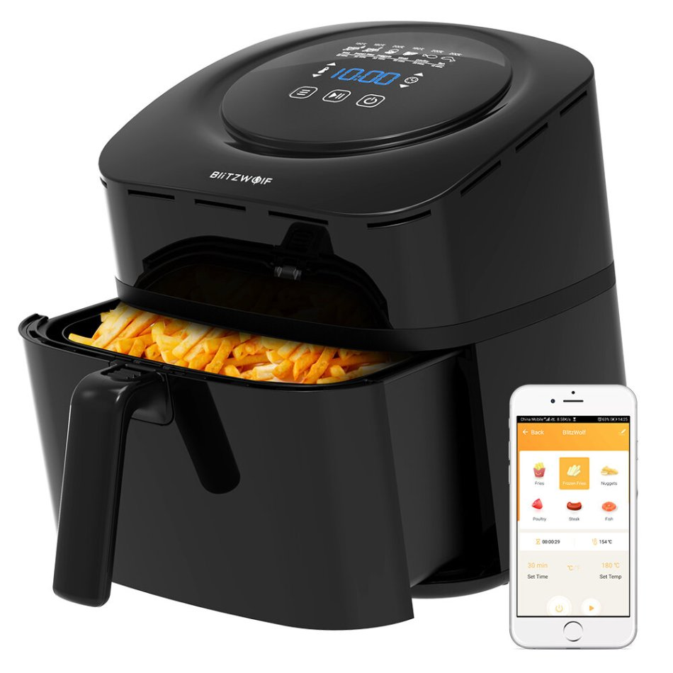 BlitzWolf®BW-AF1 Smart Air Fryer with APP Control, 6L Large Capacity, Temperature Control, Removable Basket, Smart Recipe and Non-stick Coating