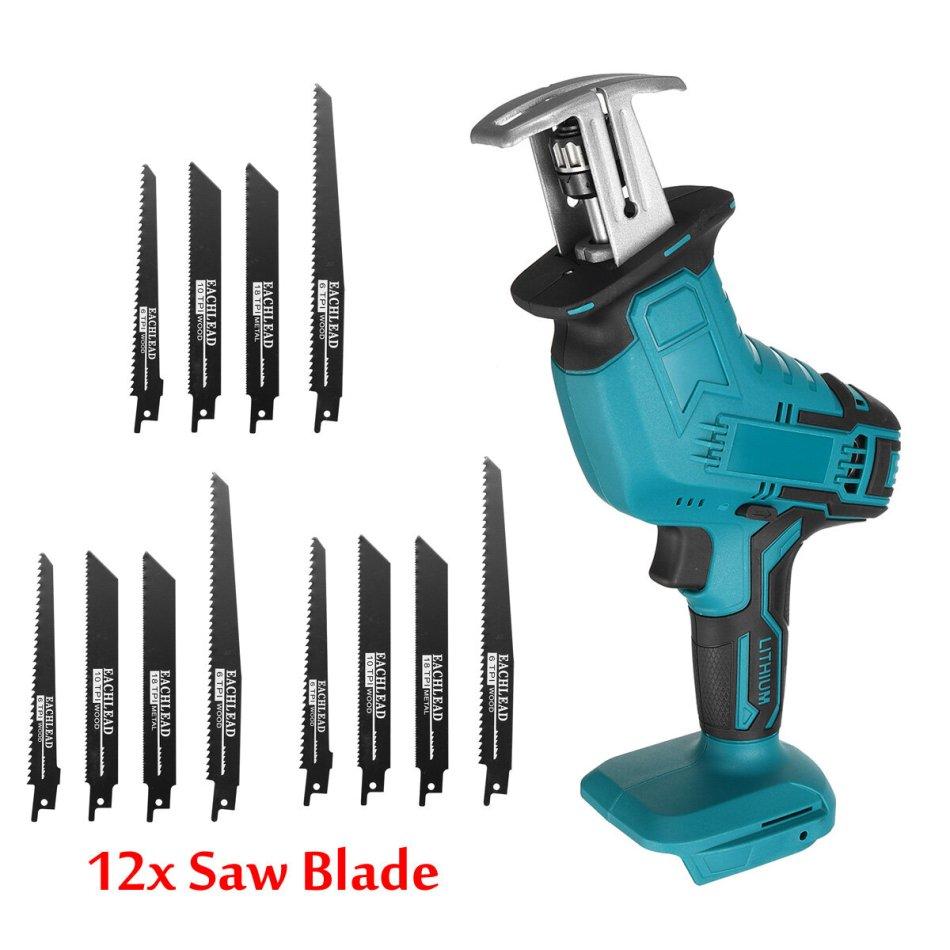 Cordless Handheld Electric Reciprocating Saw Saber Saw W/ 12X Blades For Makita 18V Battery