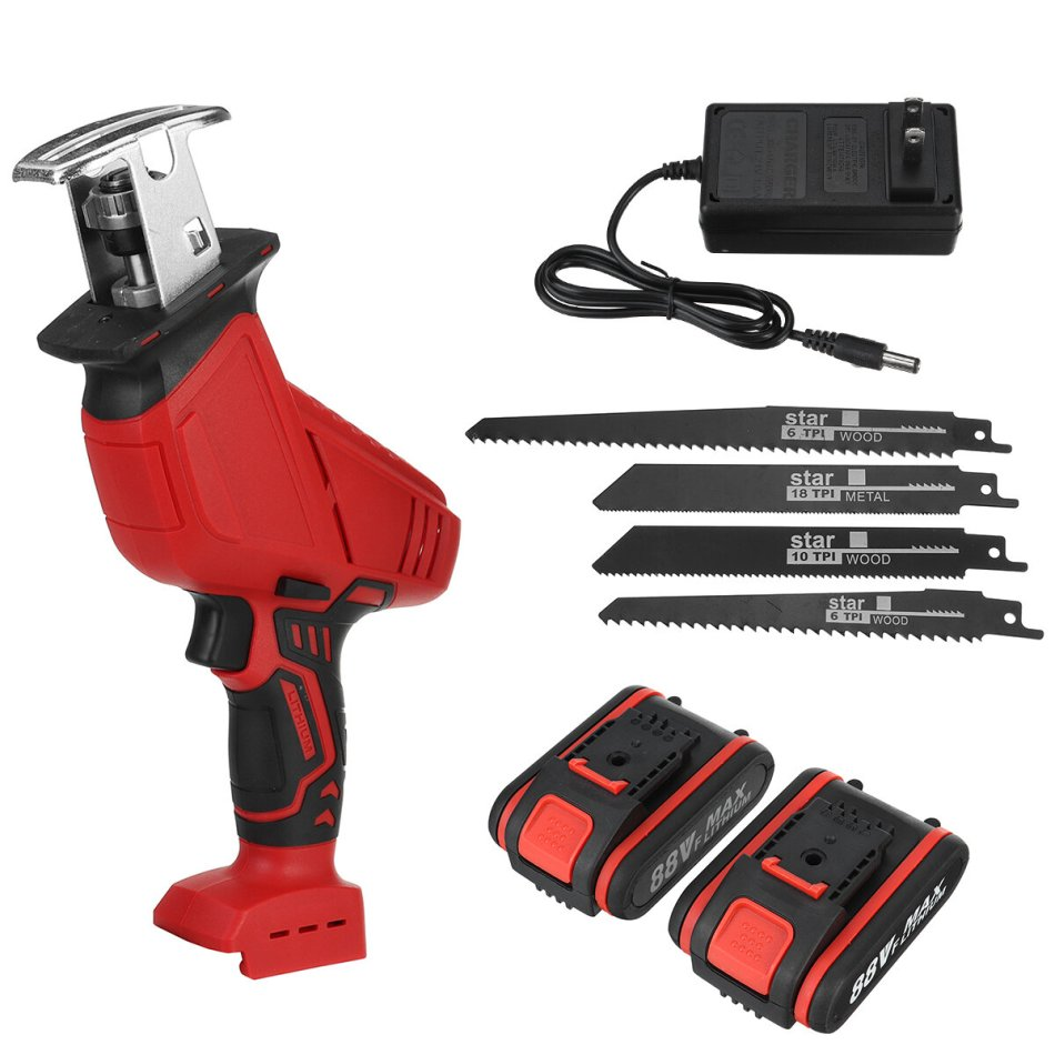 88VF Electric Reciprocating Saw Wireless Rechargeable Saw Wood Metal Plastic Sawing Cutting Tool W/ 1 or 2 Battery For WORX