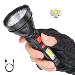 Στα 6€ από αποθήκη Κίνας | XANES® 2000lm Long Shoot Strong OSL Flashlight with COB Sidelight USB Rechargeable Portable LED Torch Powerful Spotlight Come with 18650 Battery USB Cable