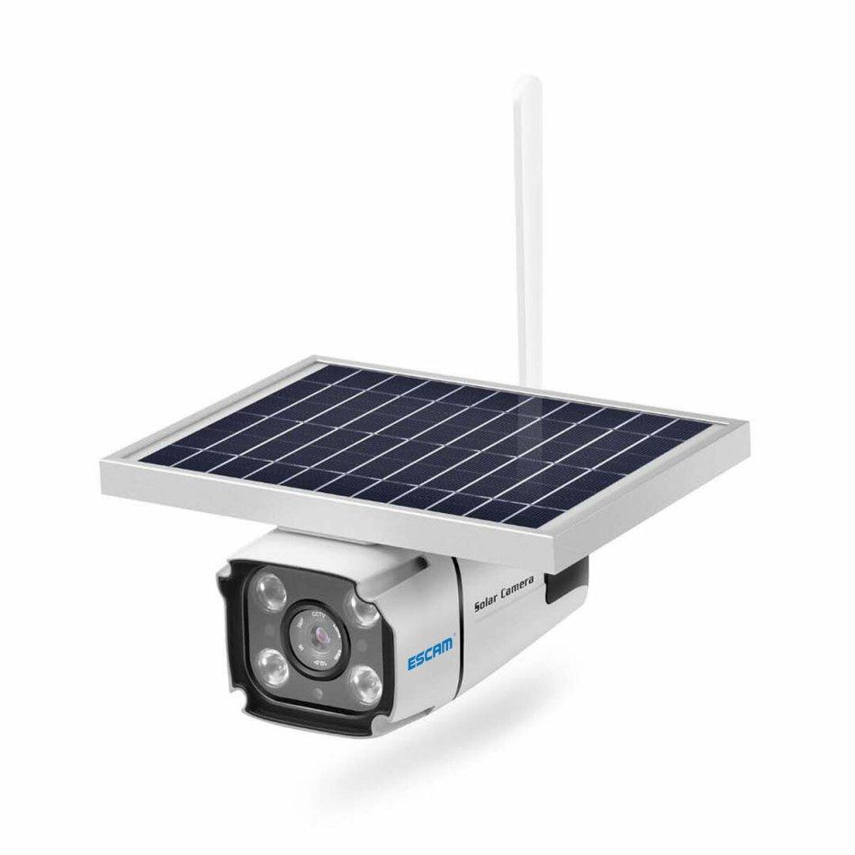 ESCAM QF460 4G Solar Camera with 2-way Intercom 5.5w Solar Panel PIR Motion Detections Free Cloud Storage HD IP Camera Rainproof