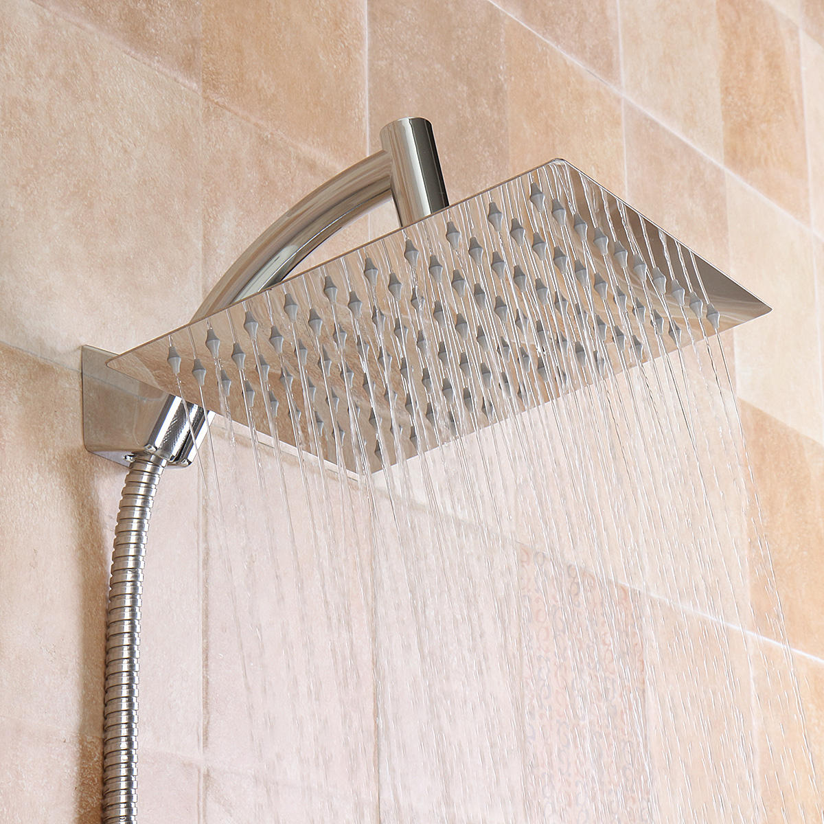 Square 8 Inch Rainfall Shower Head Extension With Shower Arm Hose Kit Overhead
