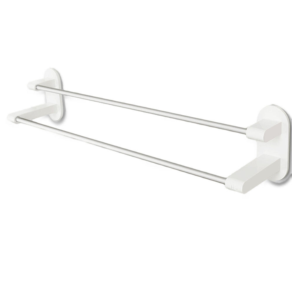 Happy Life 8h Towel Rack Holder White Tape Double Rod Storage Washcloth Towel Hanger Bathroom Accessories No Punching From Xiaomi Youpin Sale Banggood Com